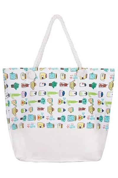 Large Printed Beach Tote Bag