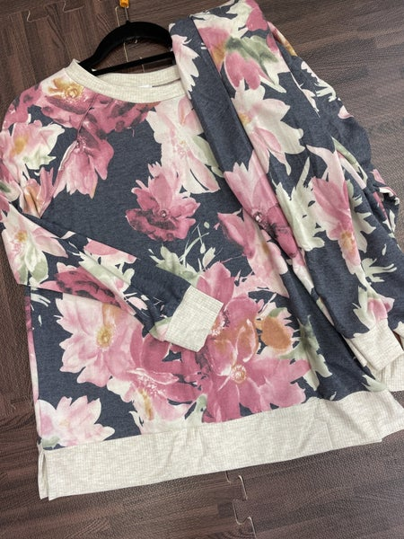 Long Sleeve Top + Jogger Hibiscus Floral Full Lounge Set