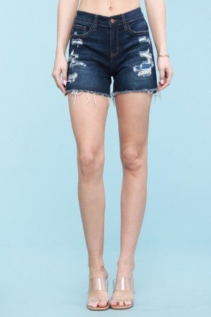 Judy Blue Mid Rise Patch Destroyed Shorts