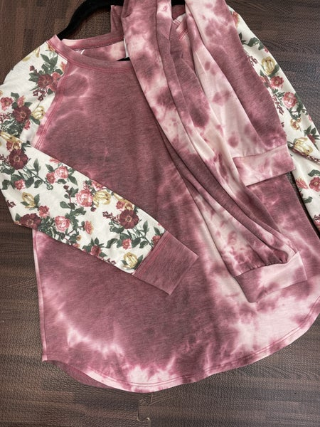 Long Floral Sleeve Top + Jogger Tie Dye Full Set