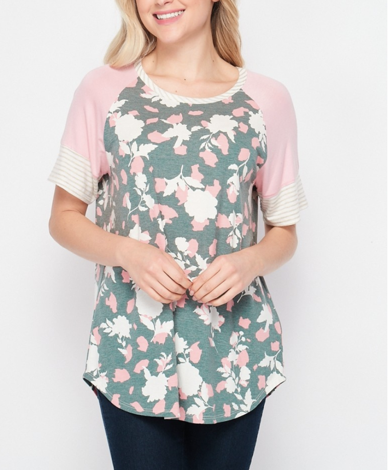 Short Sleeve Floral Top with Solid & Stripe Detail
