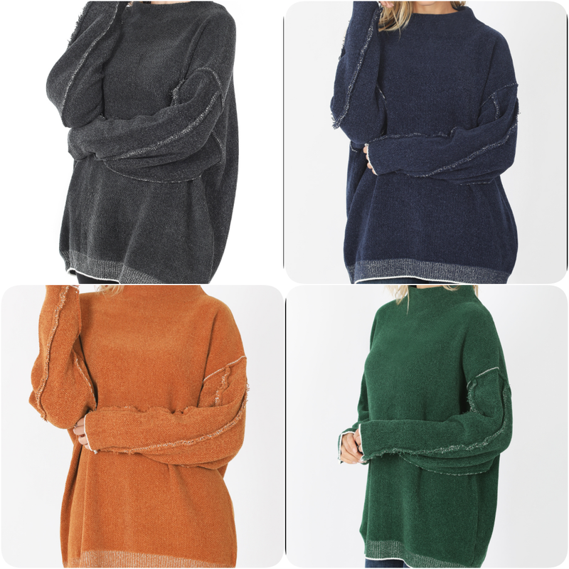 Long Sleeve Mock Neck Solid Sweater Top