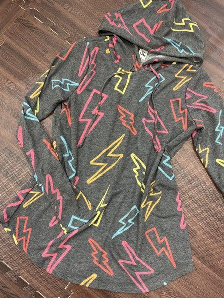 Long Sleeve Lightning Bolt Hoodie Top