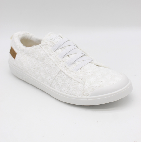 Blowfish Low Top Off White Daisy Elastic Vex Sneakers