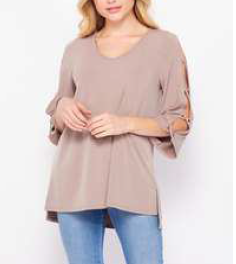 3/4 Cutout Sleeve Solid Top