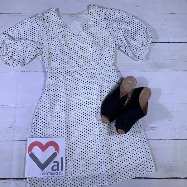 3/4 Bubble Sleeve Polka Dot Dress