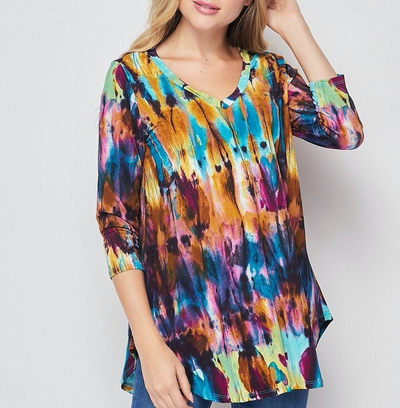 3/4 Sleeve V Neck Watercolor Print Top