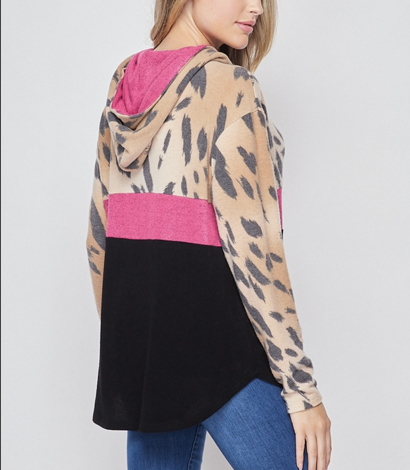 Long Sleeve Wildcat and Solid Colorblock Hoodie Top
