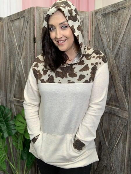 Long Sleeve Cow Print & Solid Hoodie Top