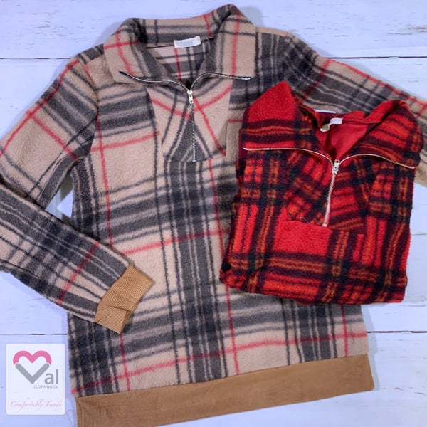 Long Sleeve Plaid Pullover Top with Front Zip Detail