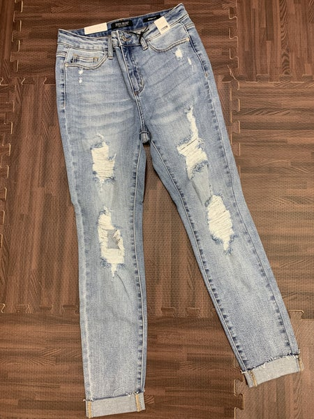 Judy Blue High Waisted Destroyed Cuffed Skinny Jeans