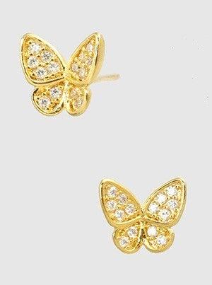 Metal Cubic Zirconia Butterfly Post Stud Earrings