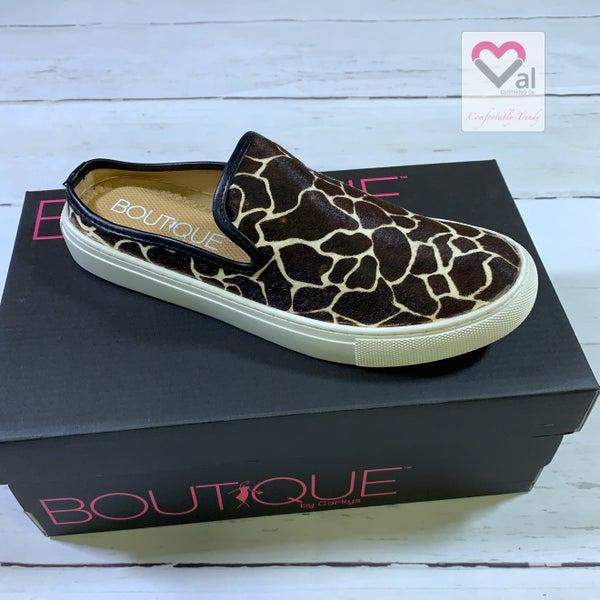 Corkys Slide On Giraffe Printed Shoes