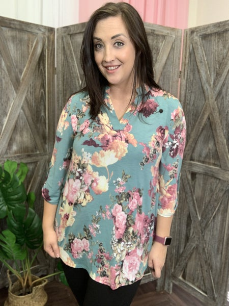 3/4 Rolled Sleeve Mock V Neck Painted Floral Print Top