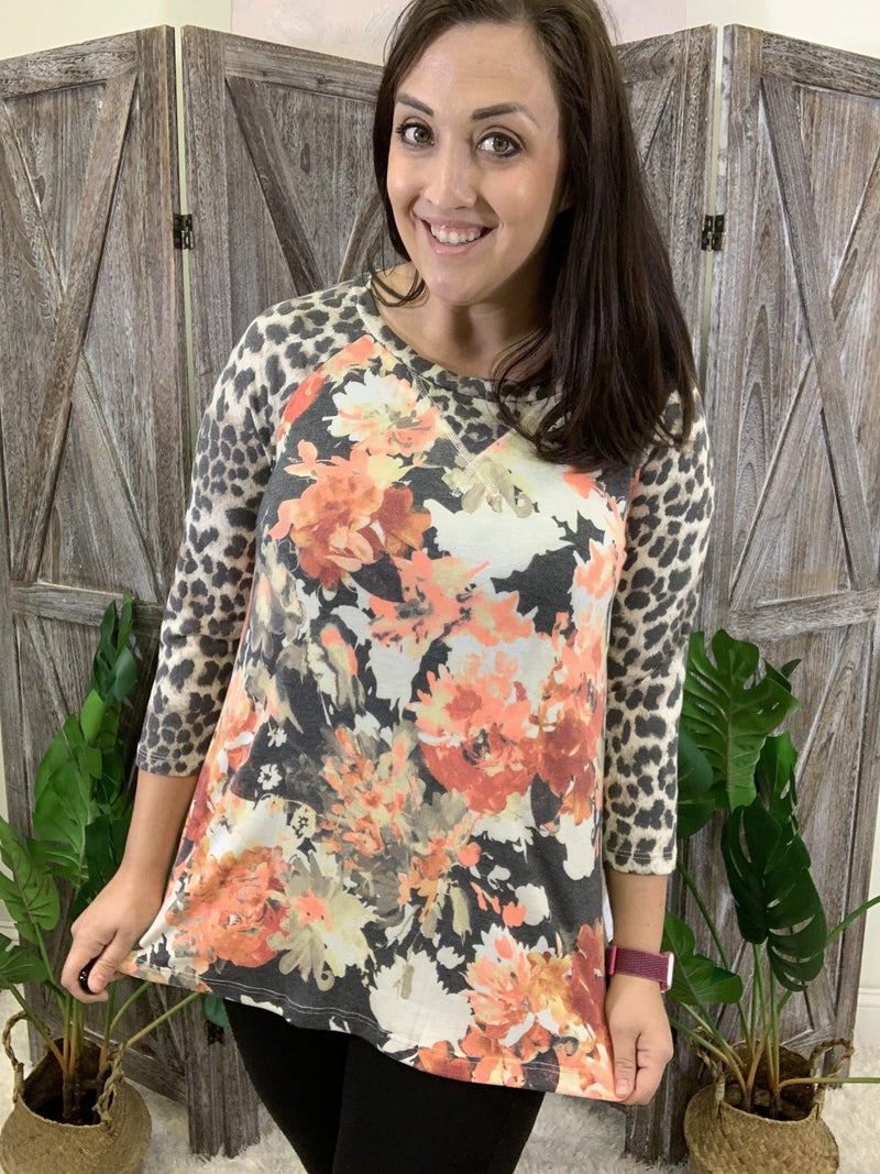 3/4 Leopard Sleeve Neon Autumn Floral Top