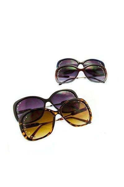 Rhinestone Lens Oval Sunglasses