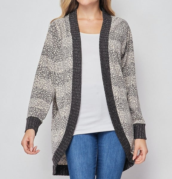 Long Sleeve Ombre Leopard Cardigan with Metallic Detail