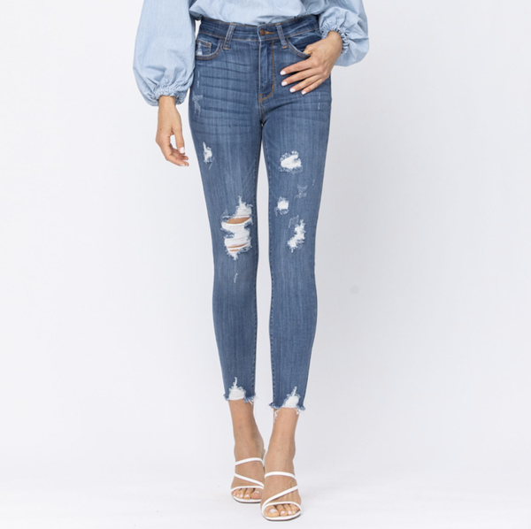 Judy Blue High Rise Medium Wash Cropped Destroyed Skinny Jeans