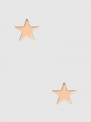 Brass Star Shape Button Stud Post Earrings