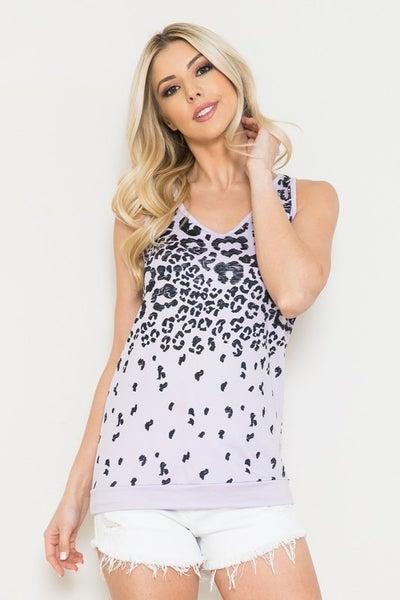 Sleeveless Leopard Fade Top