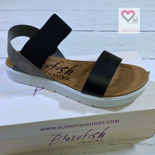 Blowfish Grey and Black Flatform Sandal