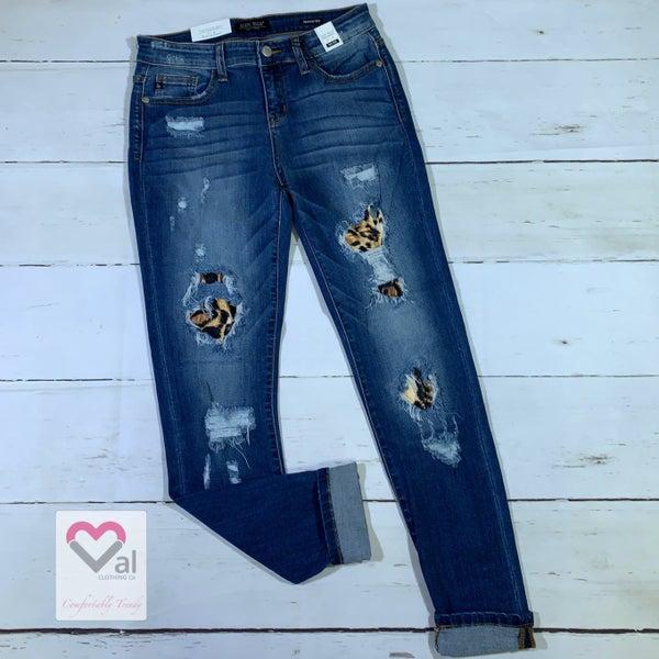 Judy Blue Mid Rise Leopard Patch Cuffed Skinny Jeans