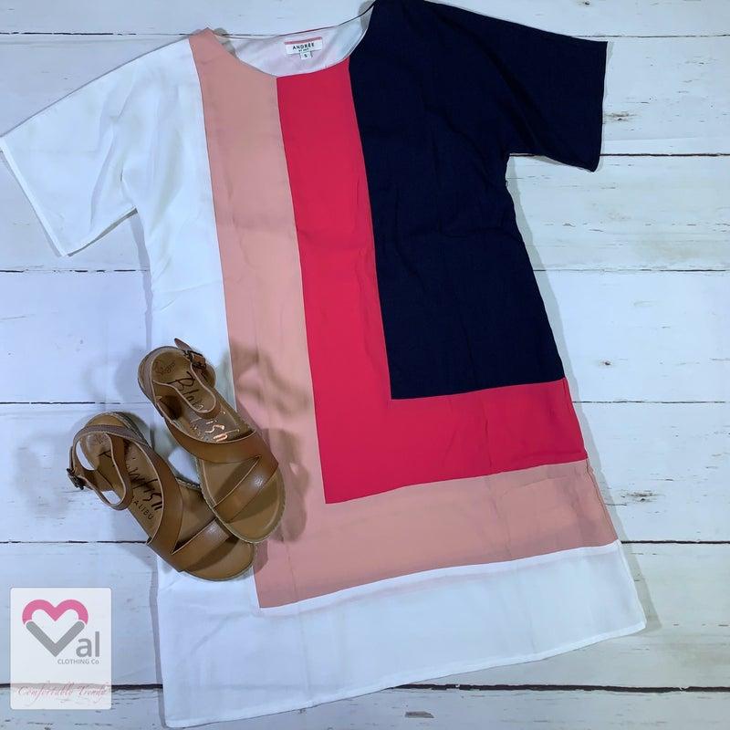 Short Sleeve Color Block Solid Shift Dress