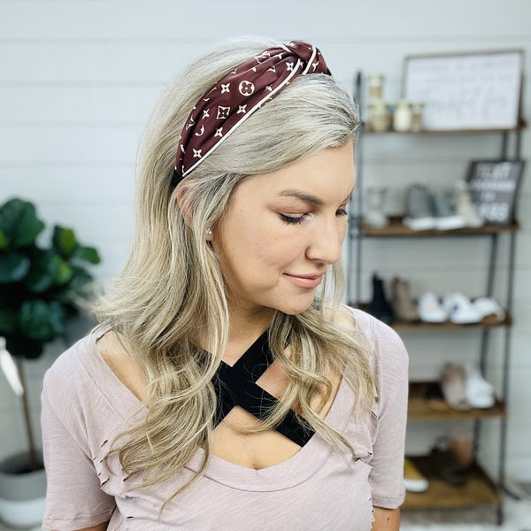 Dark Brown LV Inspired Headband