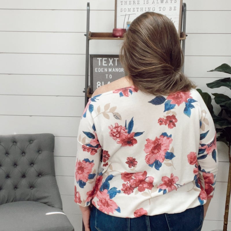 Off the Shoulder Cream and Floral Top