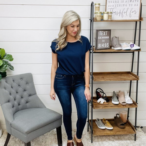 Short Sleeve Navy Top w/ Twist Hem Detail