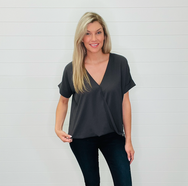 Woven Dobby Layered Draped Front Top