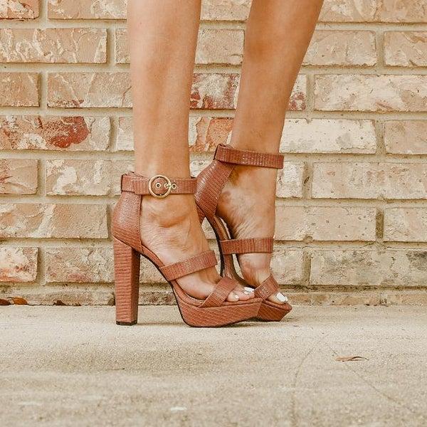 Mocha Lizard Strappy Platform Block Heels