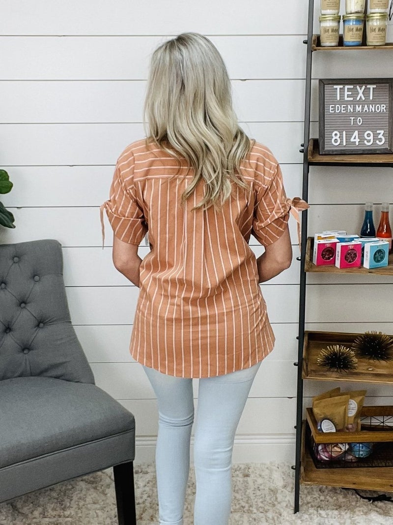 ON SALE - Tie Sleeve Terra Cotta Button Up Shirt