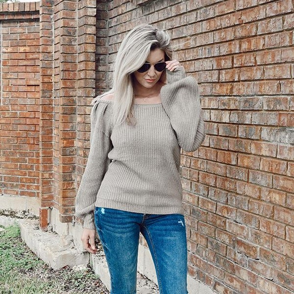 on sale - Off the Shoulder Bubble Sleeve Sweater- NORMALLY 44.99