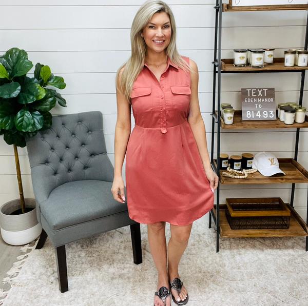 Button Down Solid Mini Dress Blush