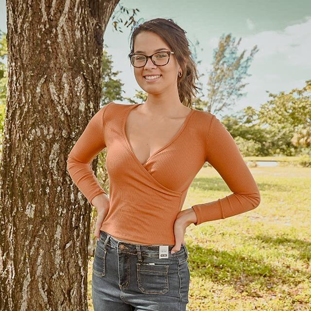 Pumpkin Surplice Ribbed Long Sleeve