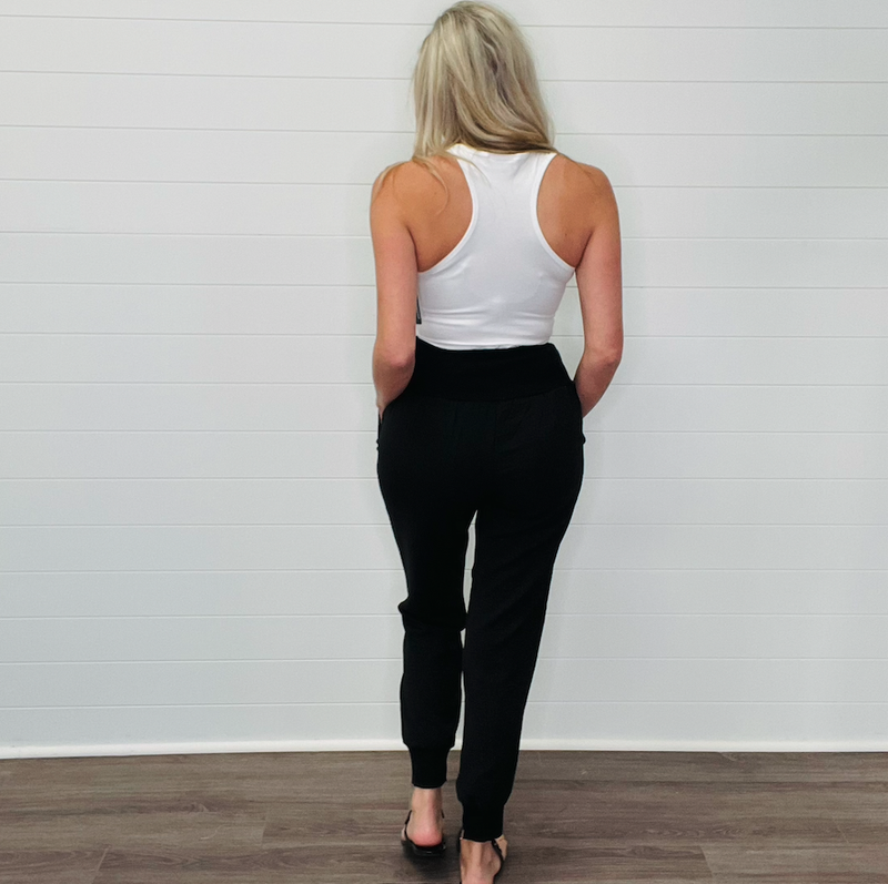 Pocketed Cotton Joggers - Black