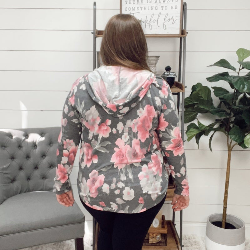 normally 42.95 - Pretty in Pink Floral Hoodie