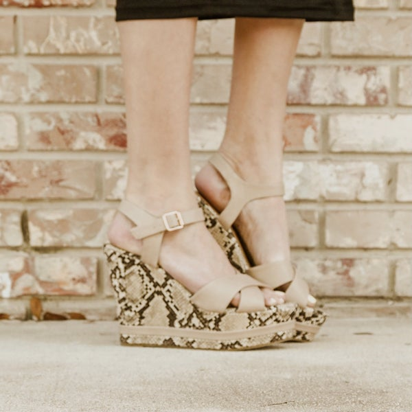 Snakeskin and Nude Wedges