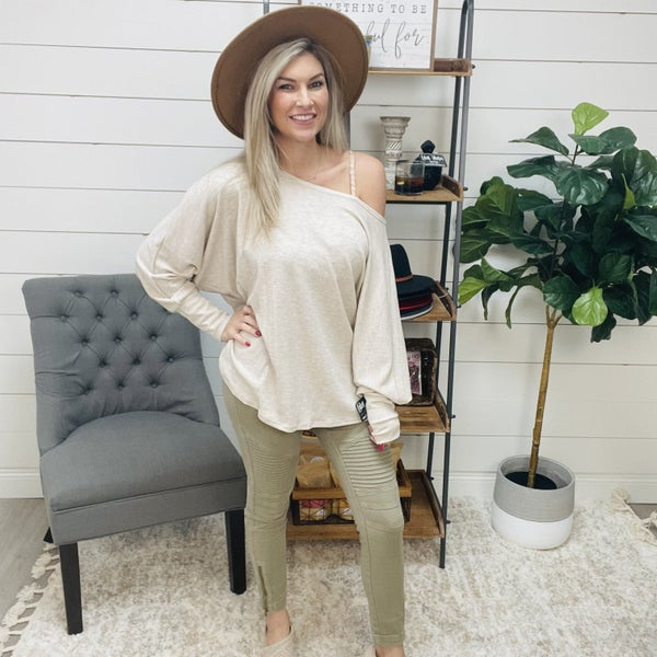 on sale - Off the Shoulder Oatmeal Knit Top