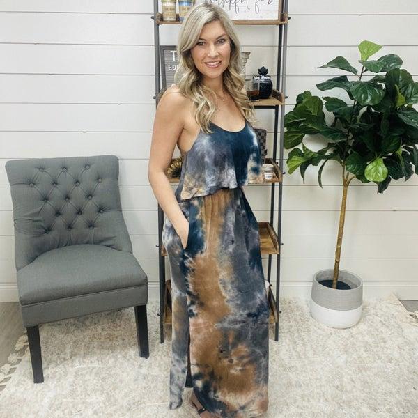 Dark Tie Dye Maxi Dress