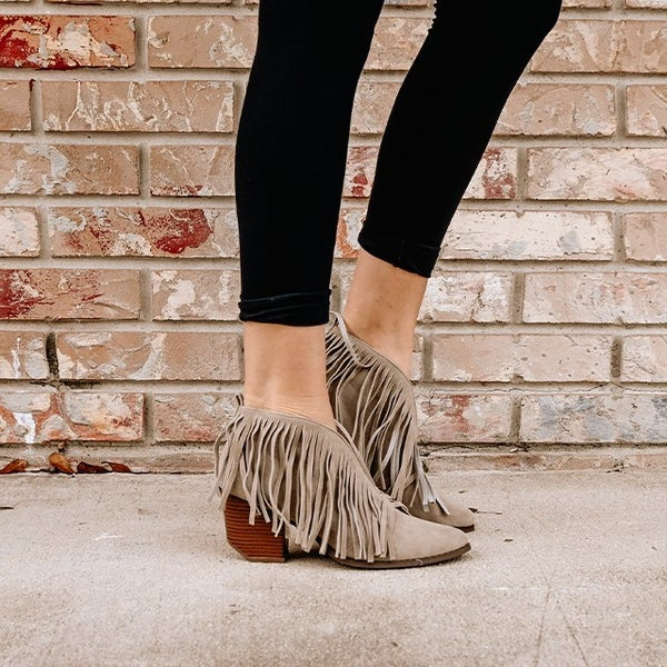 Fringed Bootie - Grey