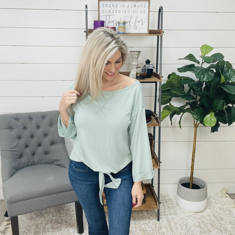 on sale - Sage Knot Front Top