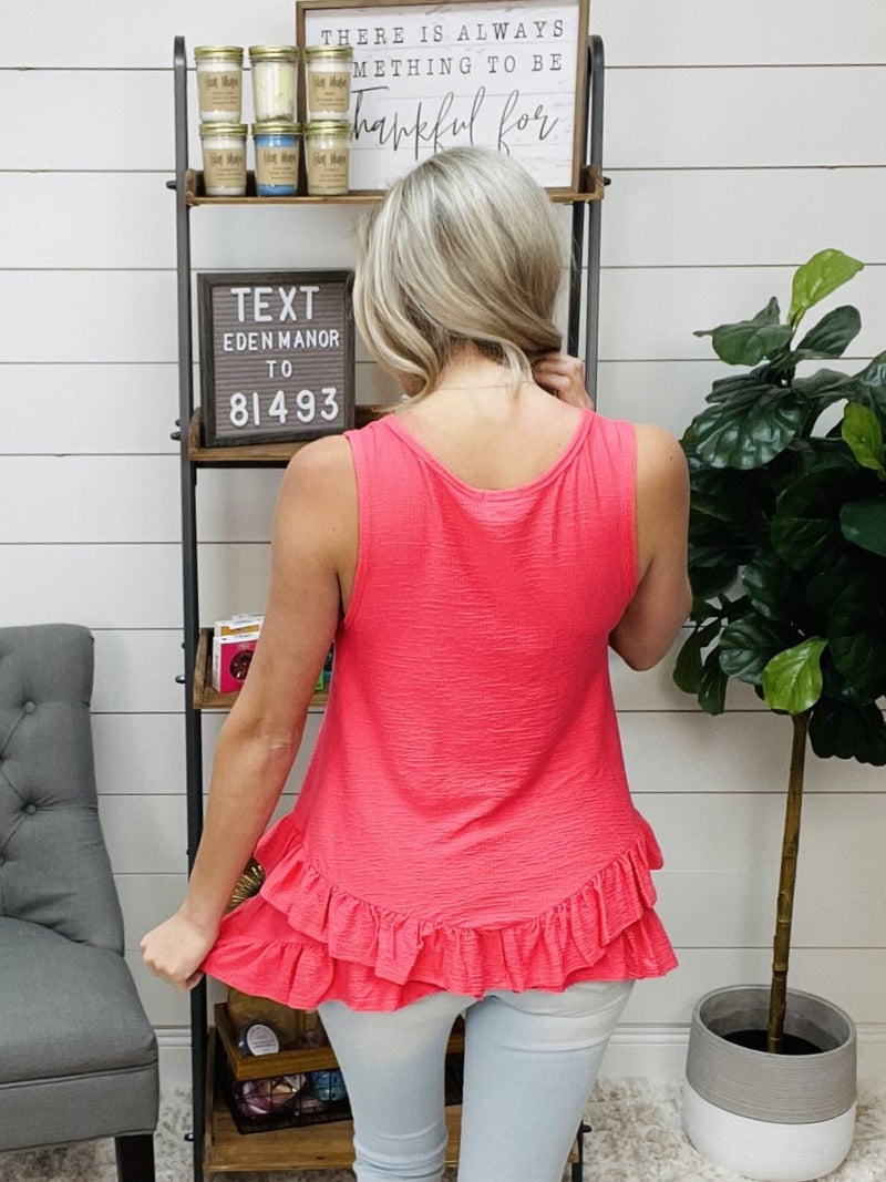Normally 32.95- Bright Coral Long Lined Tank