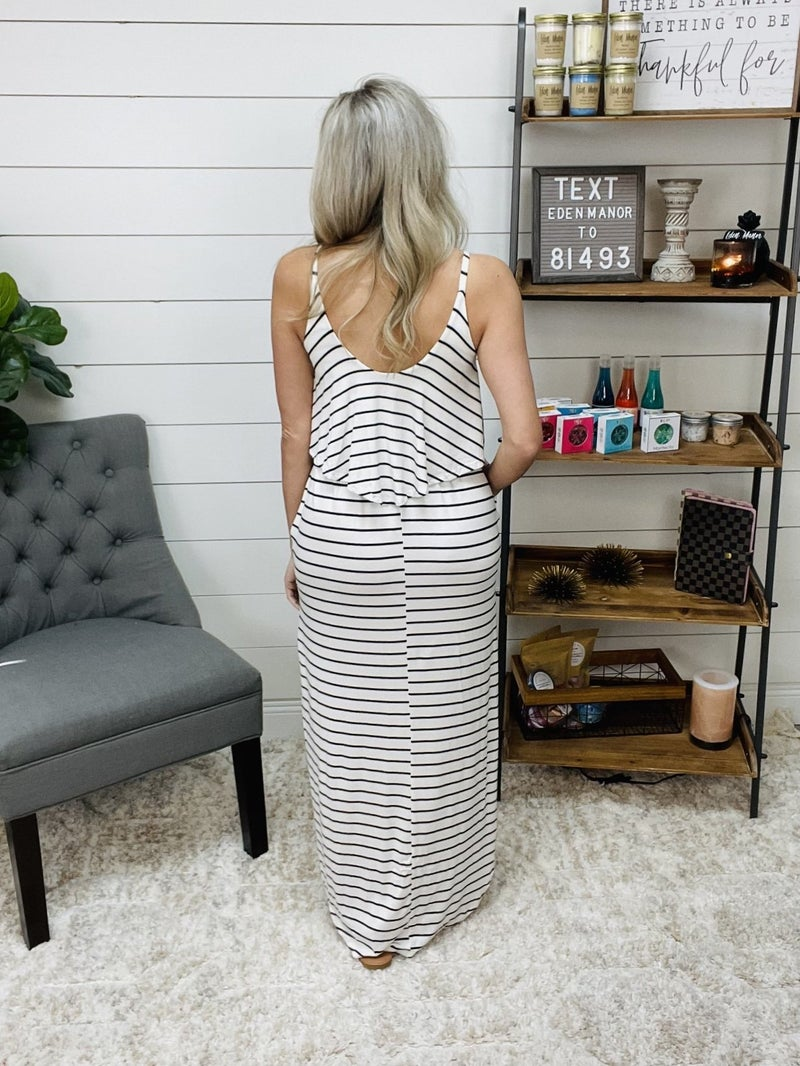 ON SALE - Striped Tiered Maxi Dress with Side Slits