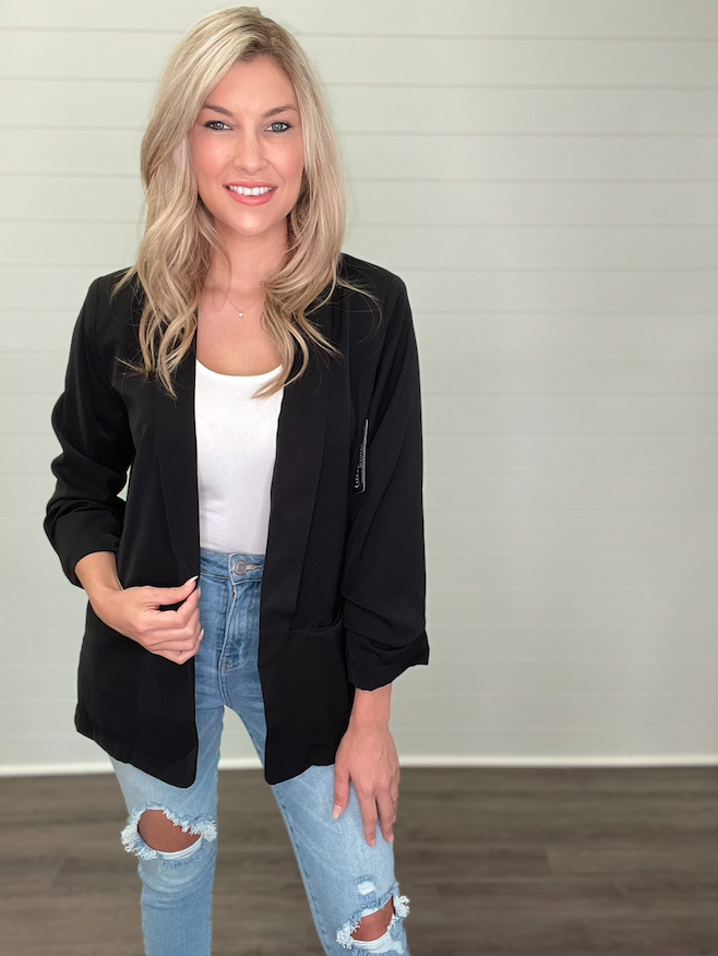 Ruched Sleeve Animal Print Lined Blazer