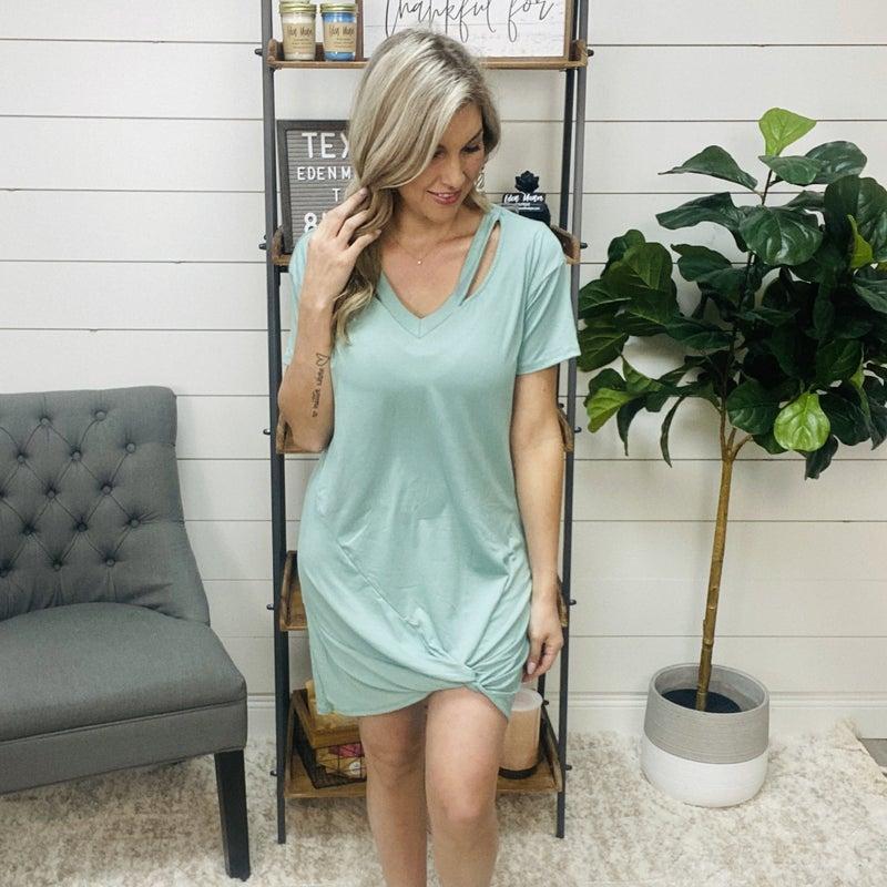 normally $42- Sea Foam Green T Shirt Dress