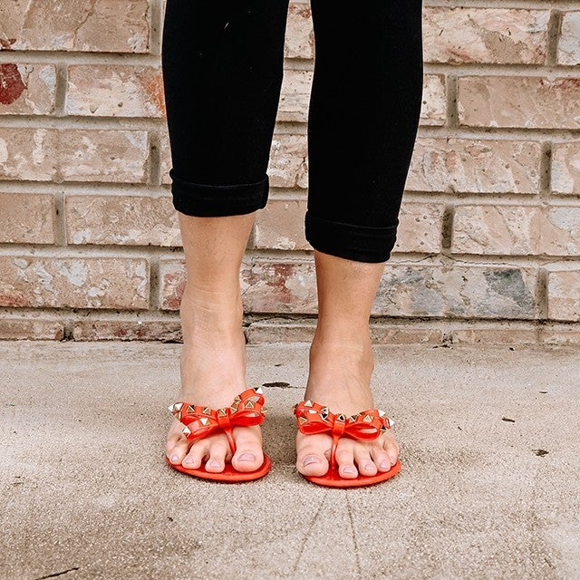 Red Jelly Thong Sandal