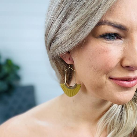 Mustard Leather Dangle Earrings
