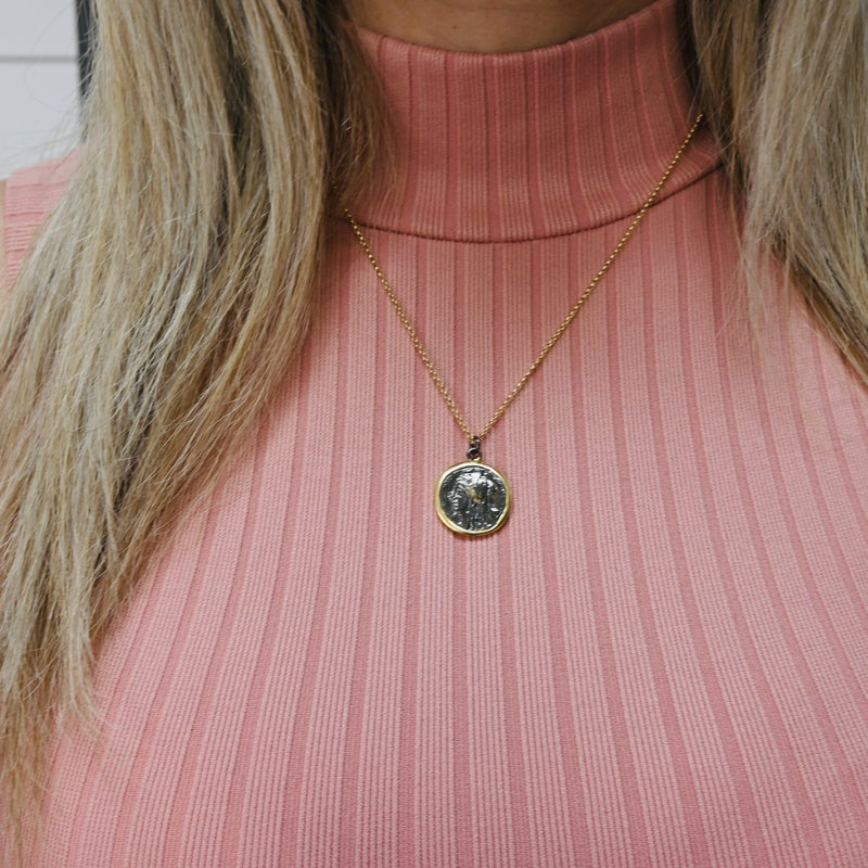 ON SALE - Coin Necklace with Detailed Chain- normally 31.99